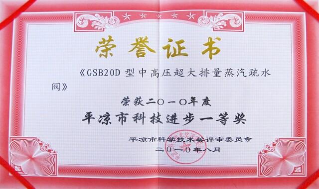 2010年平凉市科技进步一等奖(