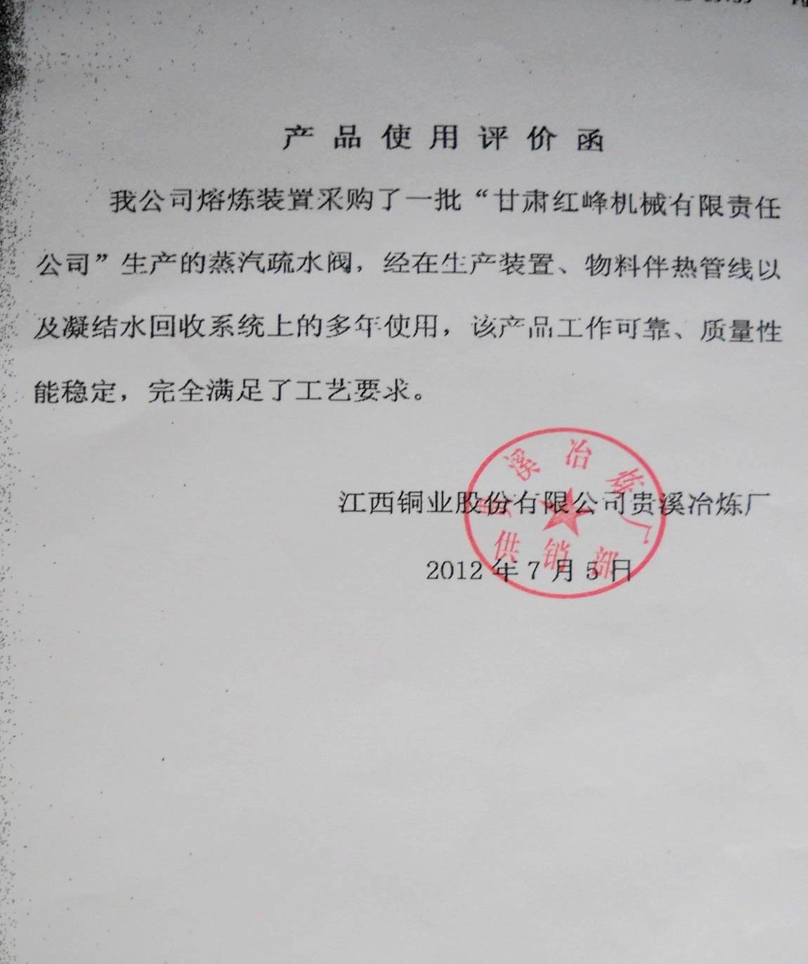 江西铜业贵溪冶炼厂反馈意见