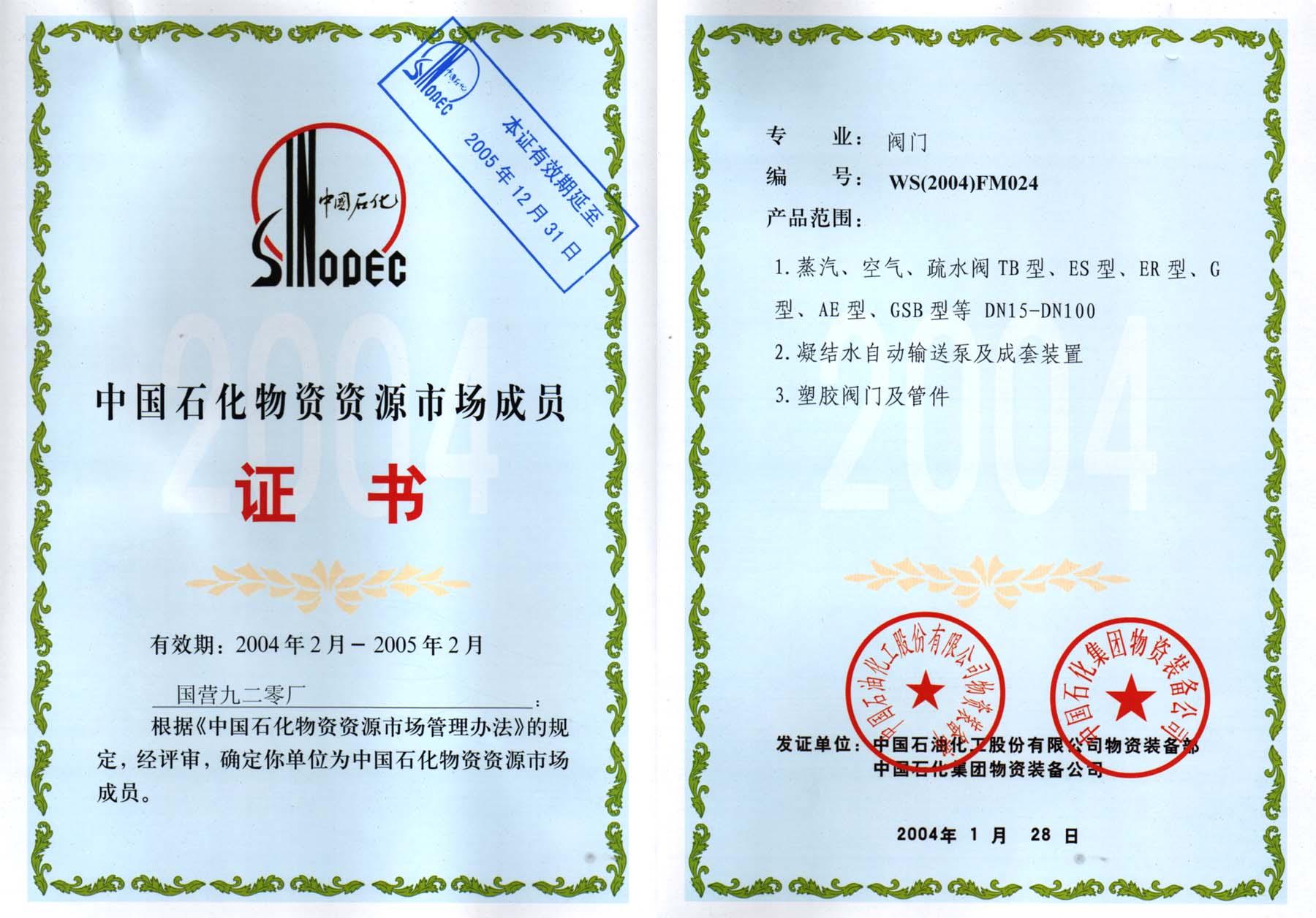2004年中国石化物资资源市场成
