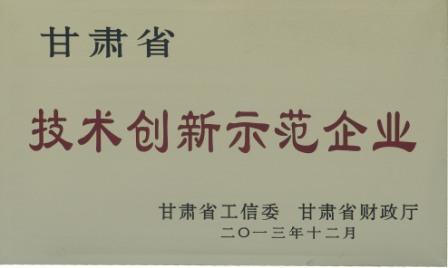 2013年甘肃省技术创新示范企业
