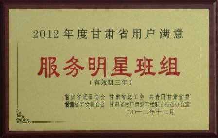 2012年度甘肃省用户满意服务明