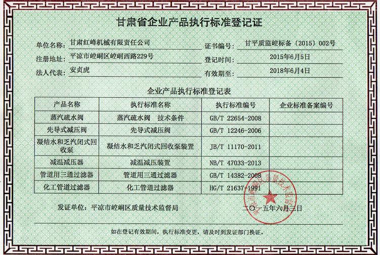 2012年企业产品执行标准等级证